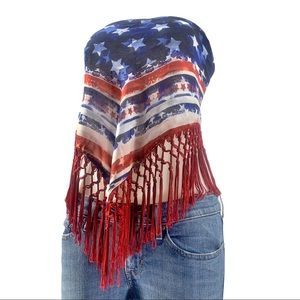 Patriotic Fringe Scarf- has been worn as a top